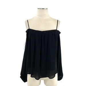 J.O.A.- Plisse Off Shoulder Top in Black Large
